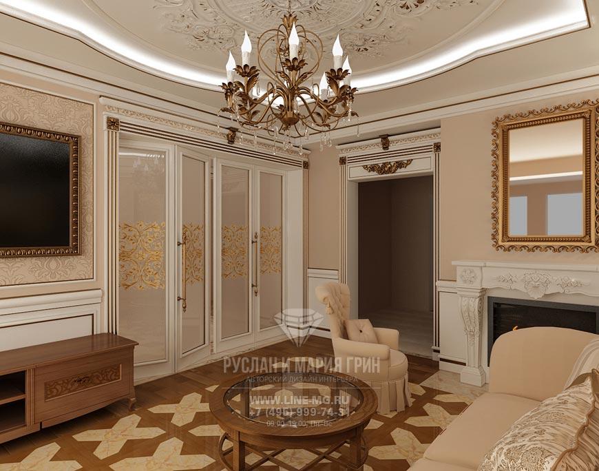 Фото интерьера гостиной с дверьми-книжкой