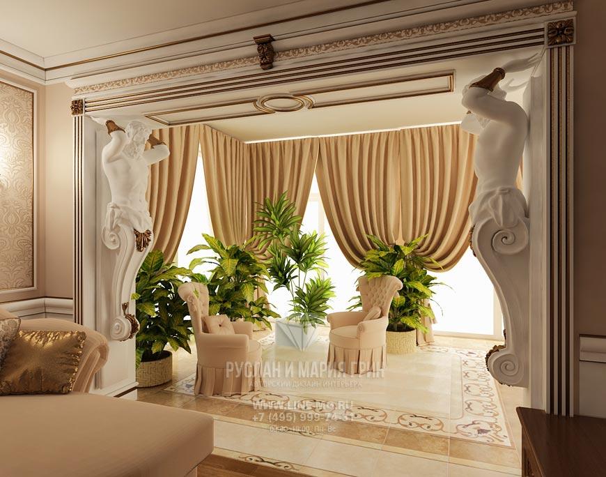 Фото интерьера гостиной с зимним садом
