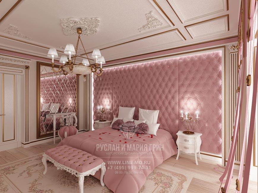 Фото интерьера гостевой комнаты в розовом цвете