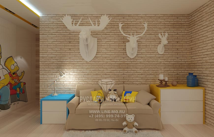 Семейство Симпсонов в интерьере детской комнаты для мальчика