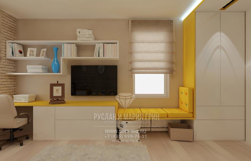 Фото интерьера детской комнаты для мальчика. Рабочая и ТВ зона детской