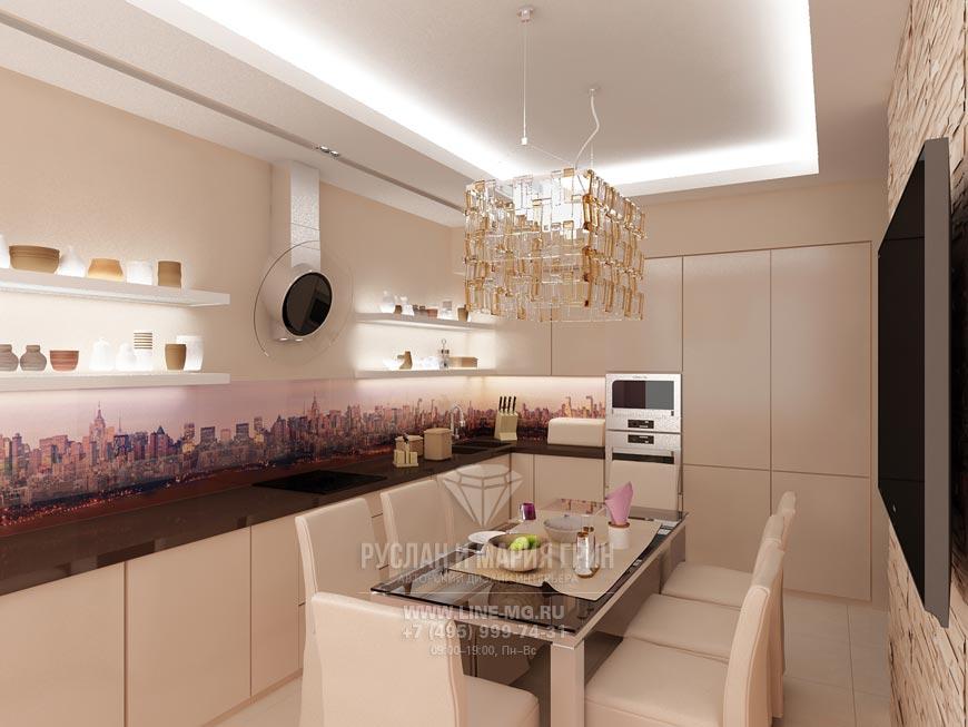 Фото интерьера кухни-столовой в бежевом цвете