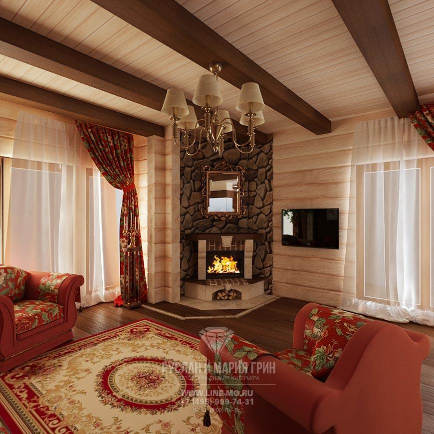 Новинка 2015: Фото интерьера гостиной в доме из бруса
