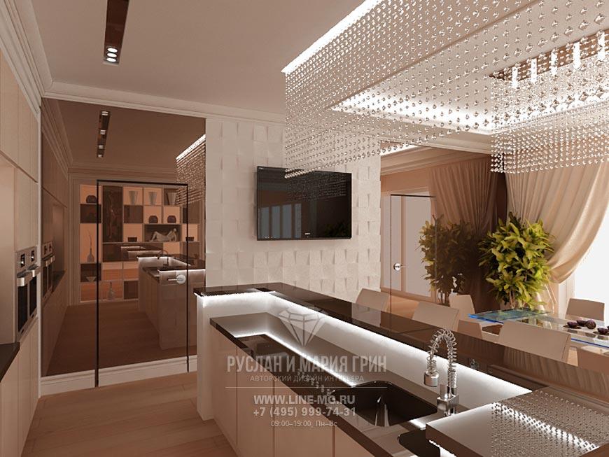 Барная стойка отделяет кухонную зону от столовой