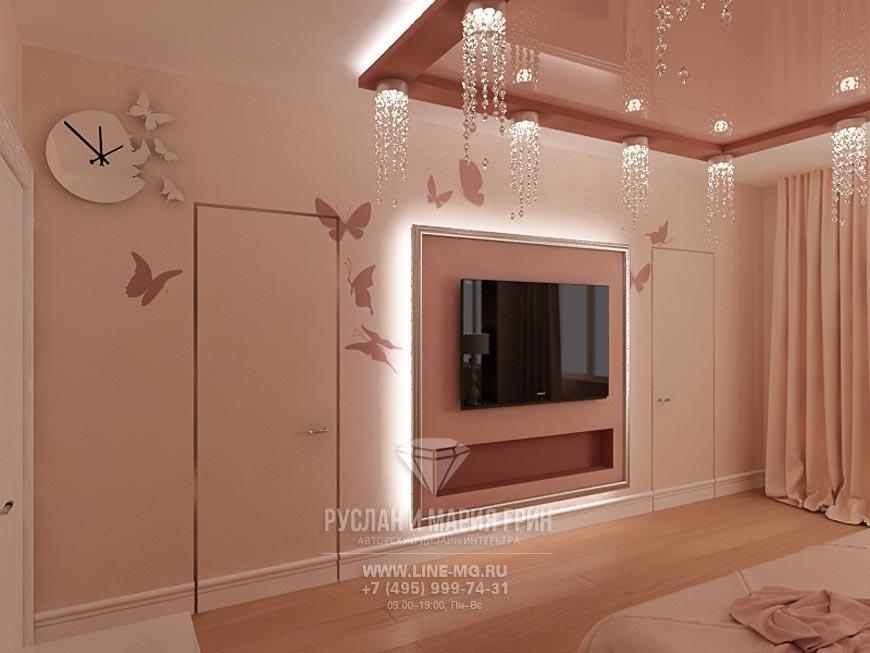 Фото интерьера спальни в розовых тонах