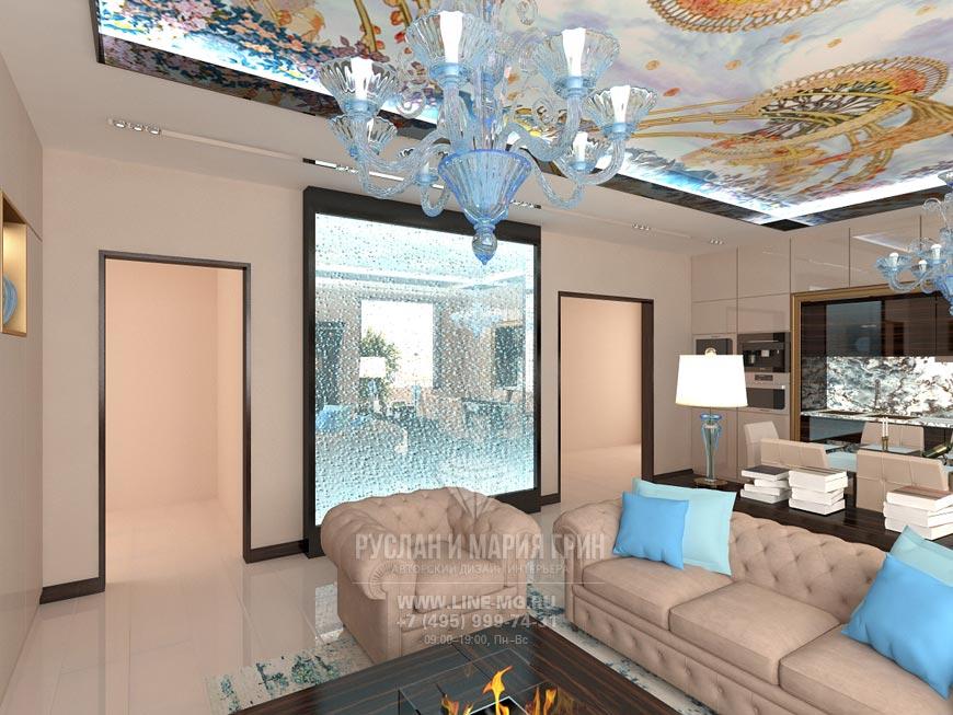 Пузырьковая стена в интерьере гостиной