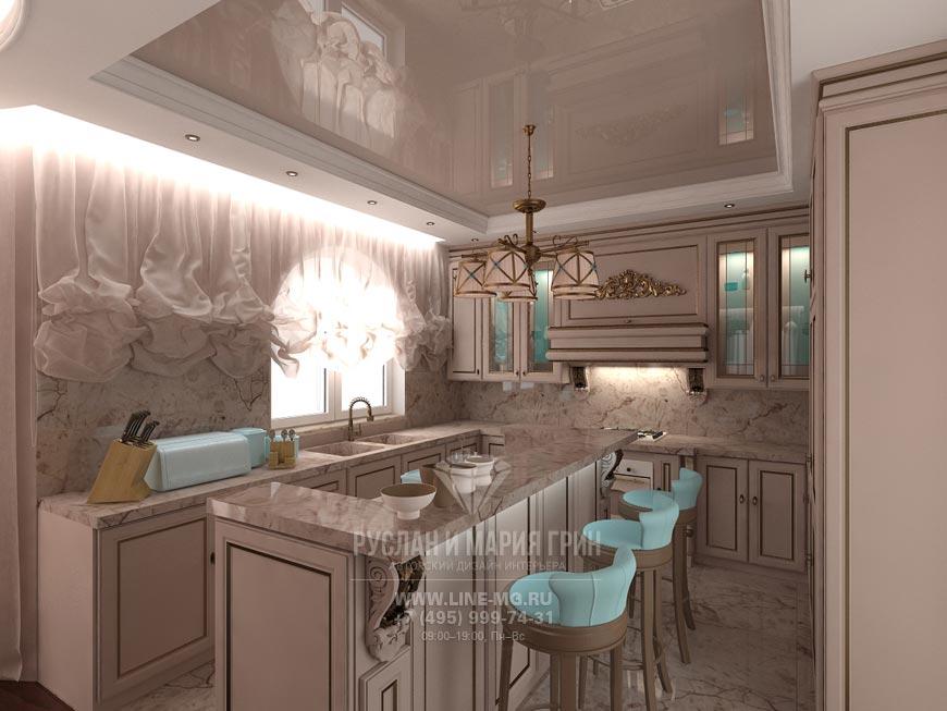 Фото интерьера гостиной-кухни в бежевом цвете