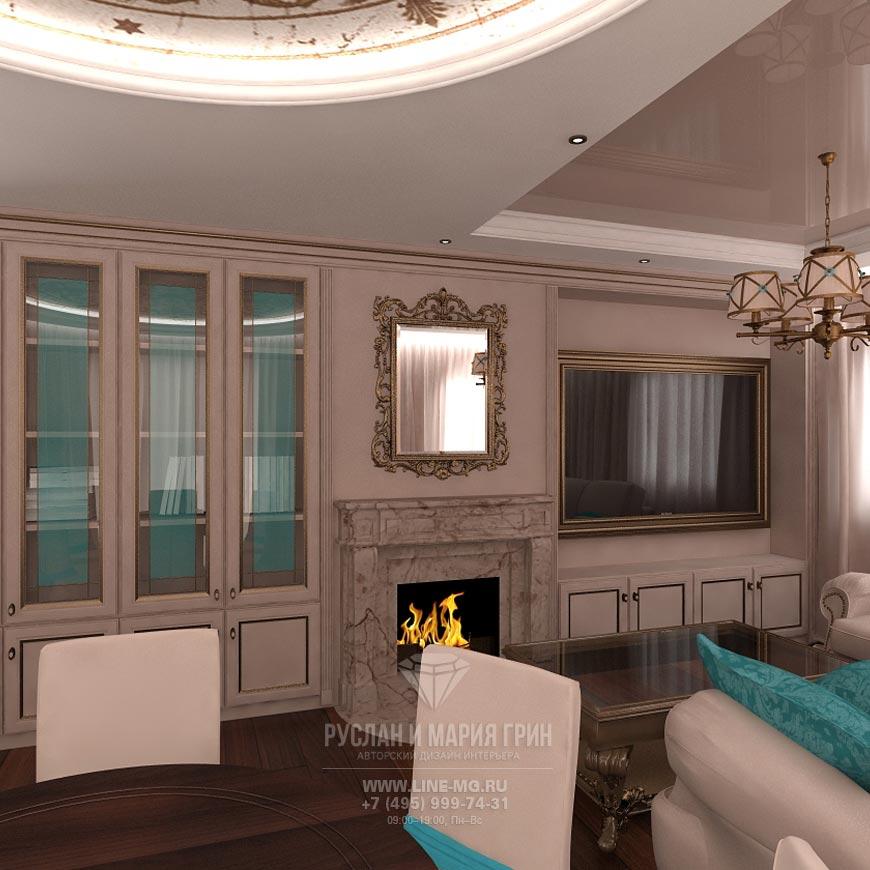 Фото интерьера гостиной-кухни в бежевом цвете с яркими бирюзовыми акцентами