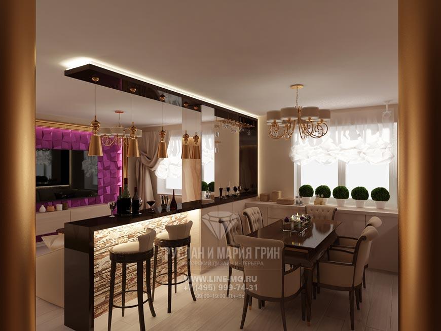Фото интерьера кухни-гостиной в бежевом цвете