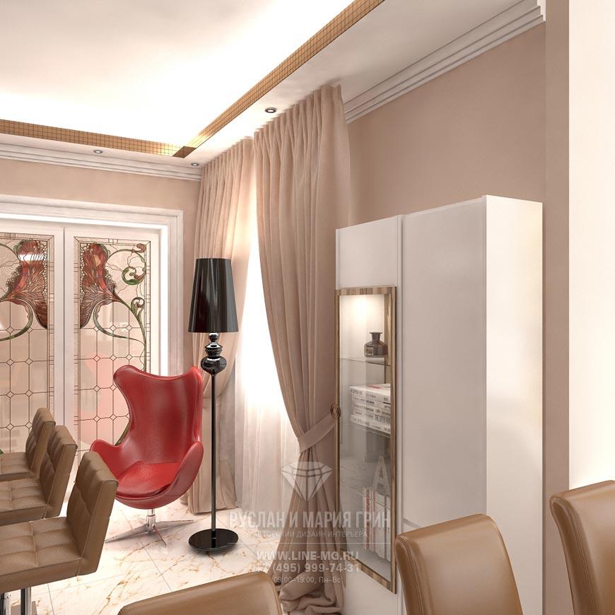 Дизайн гостиной в бежевых тонах. Фото 2015