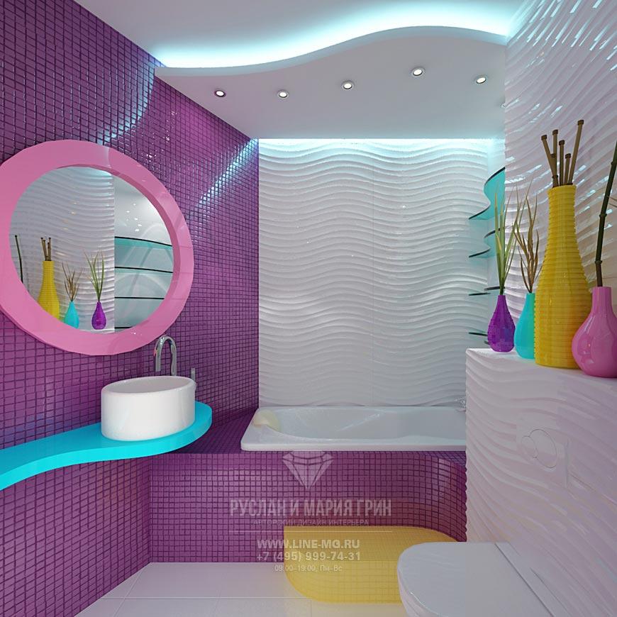 Фото яркого интерьера санузла в детской комнате для девочки