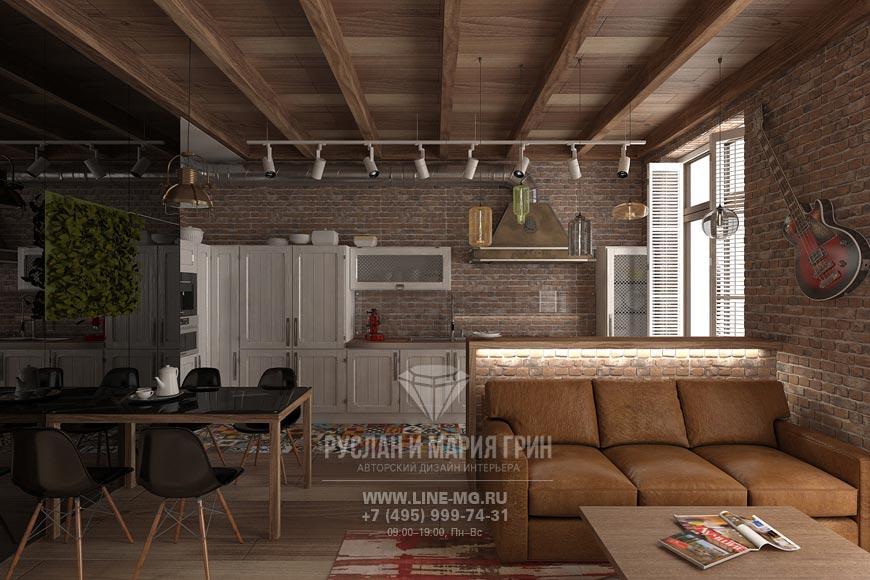 Фото дизайна гостиной, объединенной с кухней