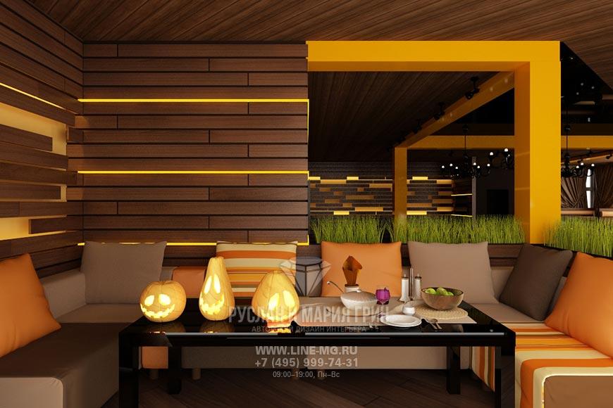 Дизайн ресторана в оттенках коричневого и оранжевого