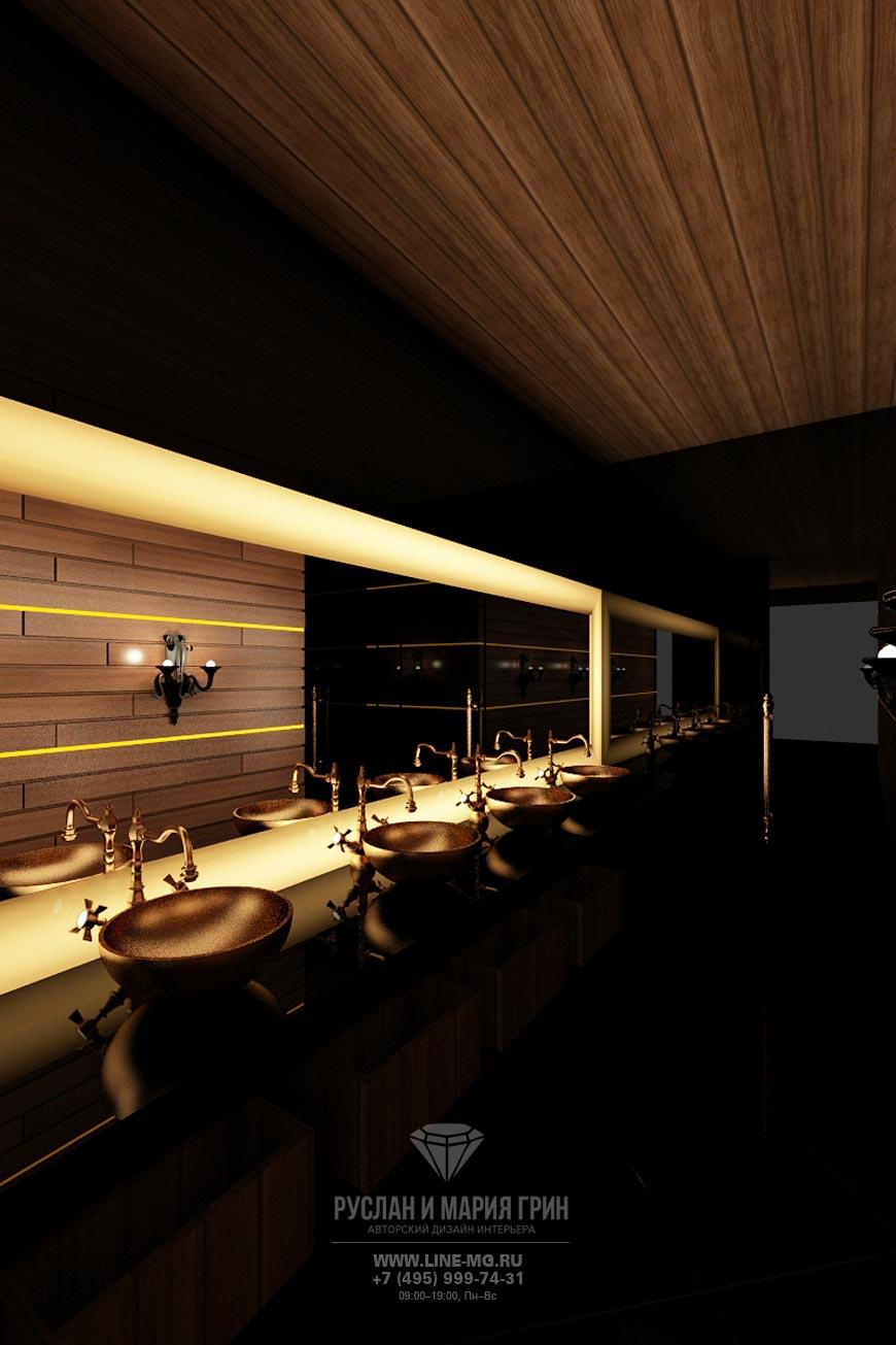 Дизайн санузла ресторана Стейк Хаус