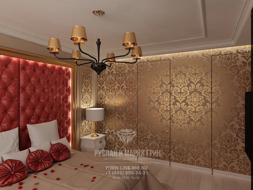 Красные и золотые акценты в интерьере спальни