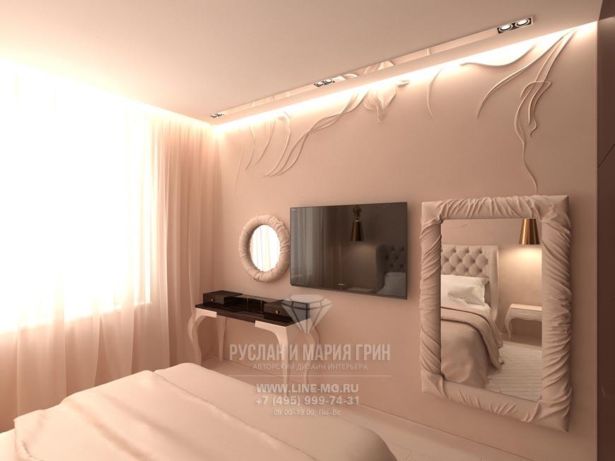 Новинка 2015: Дизайн интерьера спальни. Современная идея в розово-бежевых тонах