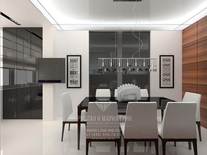 Фото интерьера кухни-столовой в современном стиле