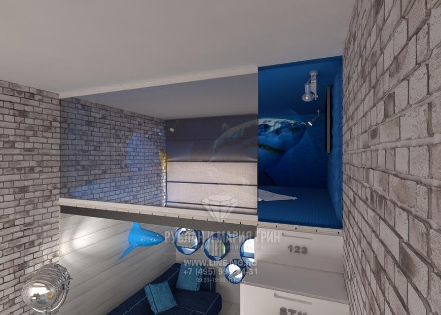Современная идея дизайна детской комнаты для мальчика