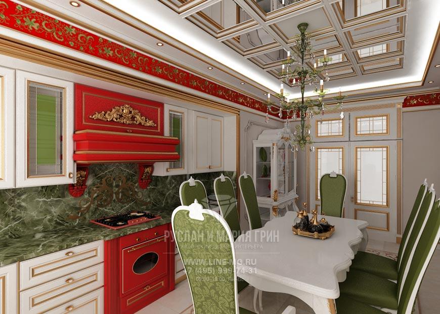 Фото интерьера кухни с красными и зелеными оттенками