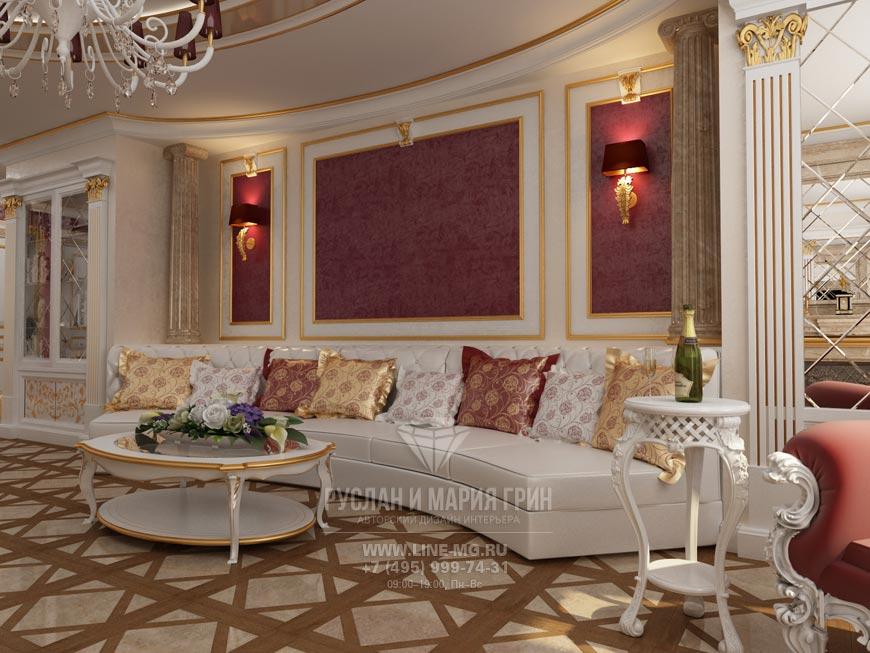 Фото дизайна гостиной в красно-золотистых оттенках