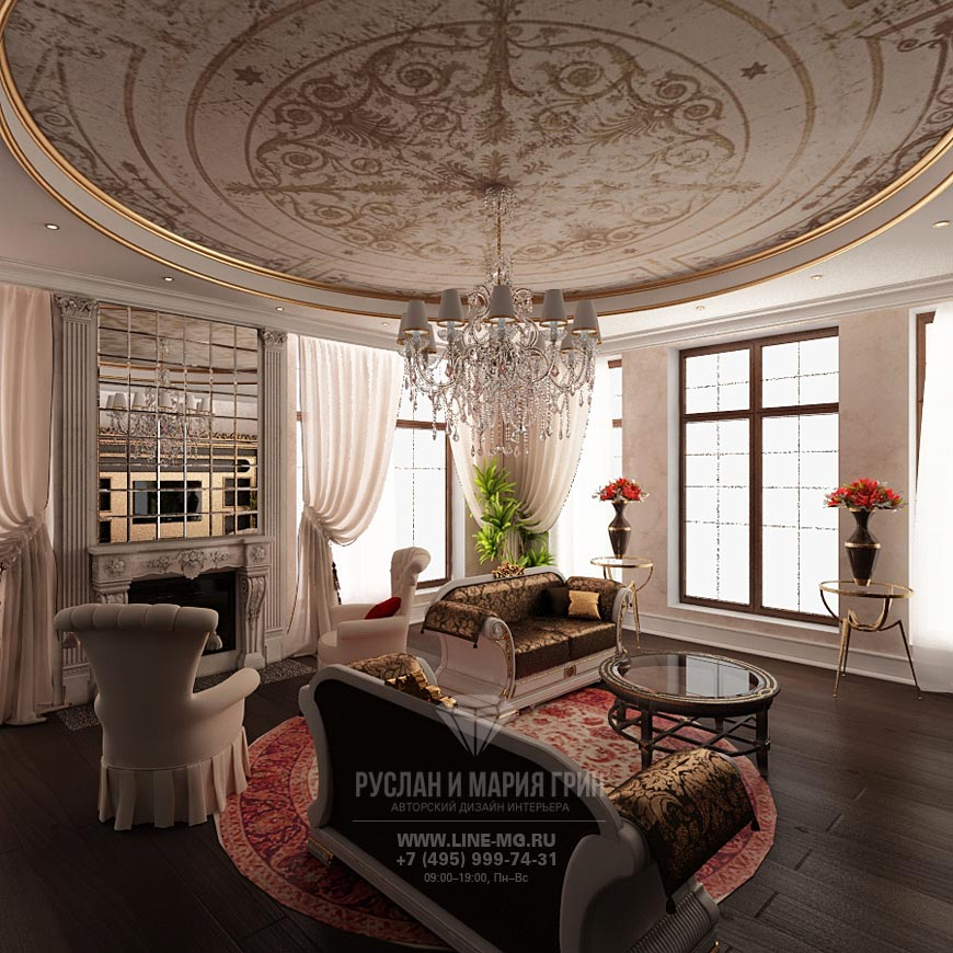 Дизайн гостиной дома во Внуково