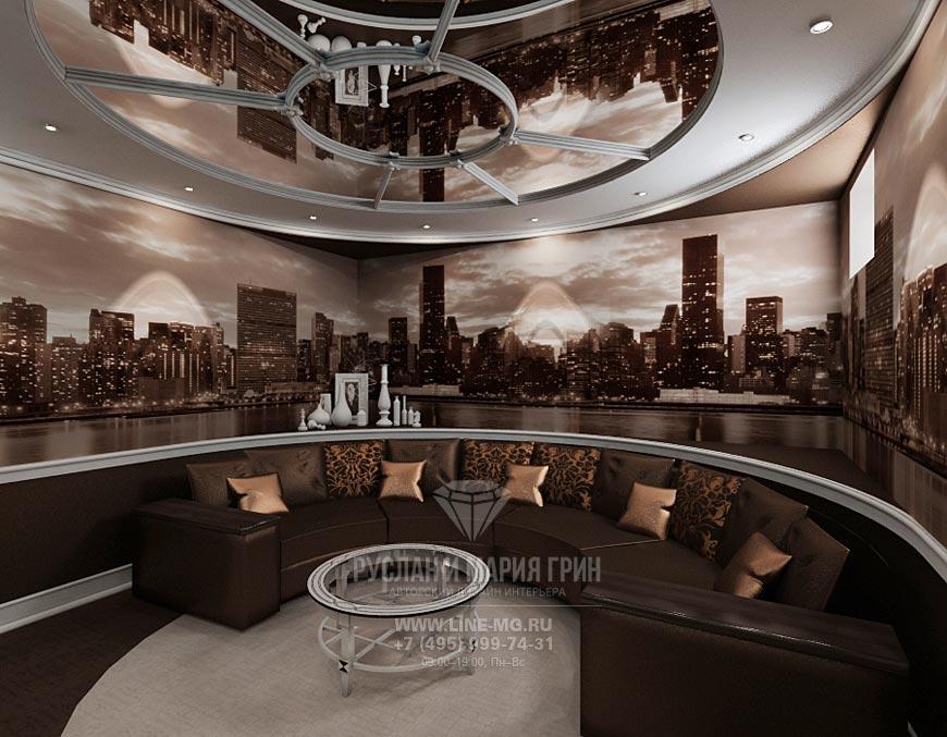 Фото интерьера домашнего кинотеатра в коричневом цвете