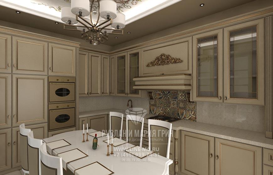Фото интерьера кухни в бежевом цвете в Заречье
