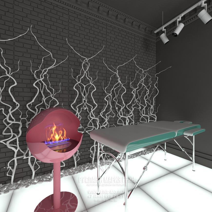 Дизайн футуристического интерьера салона красоты Lipstick