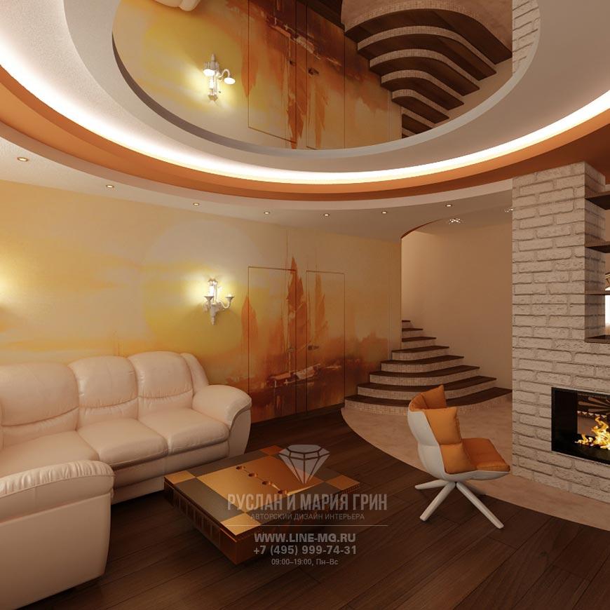 Интерьер гостиной в теплых тонах. Фото 2015 года