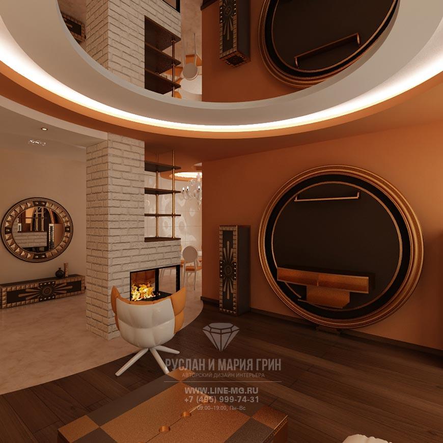 Фото интерьера современной гостиной в доме с камином