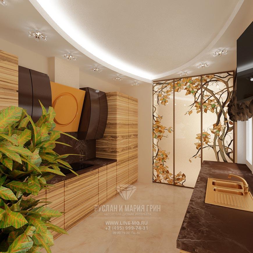 Фото интерьера кухни: потолок