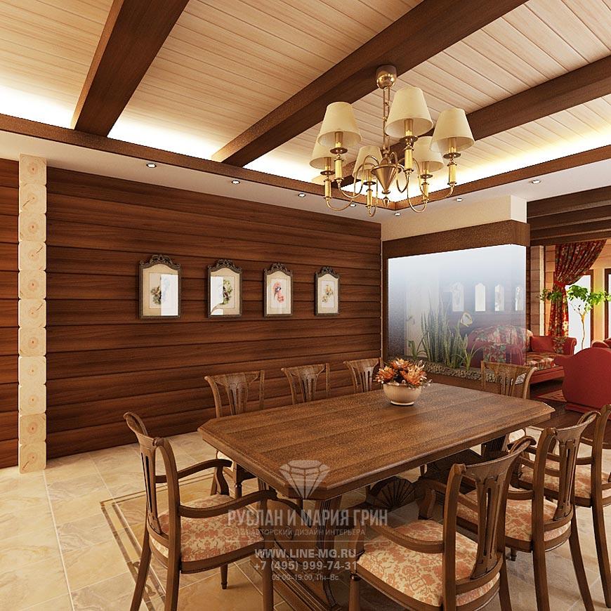 Фото дизайна интерьера кухни-гостиной в экостиле: обеденный стол