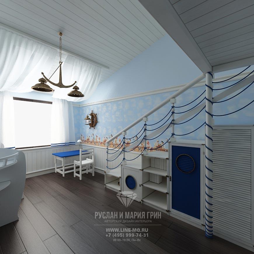 Фото интерьера детской комнаты для мальчика в голубых тонах