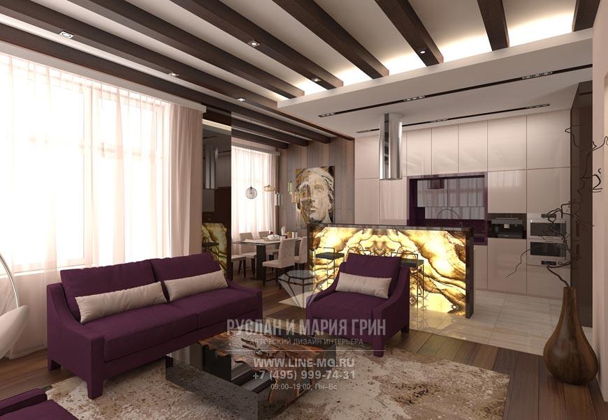 Дизайн кухни и гостиной фото коттеджа