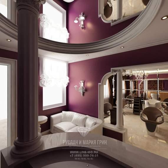 Арт-деко и лиловые акценты в интерьере салона красоты