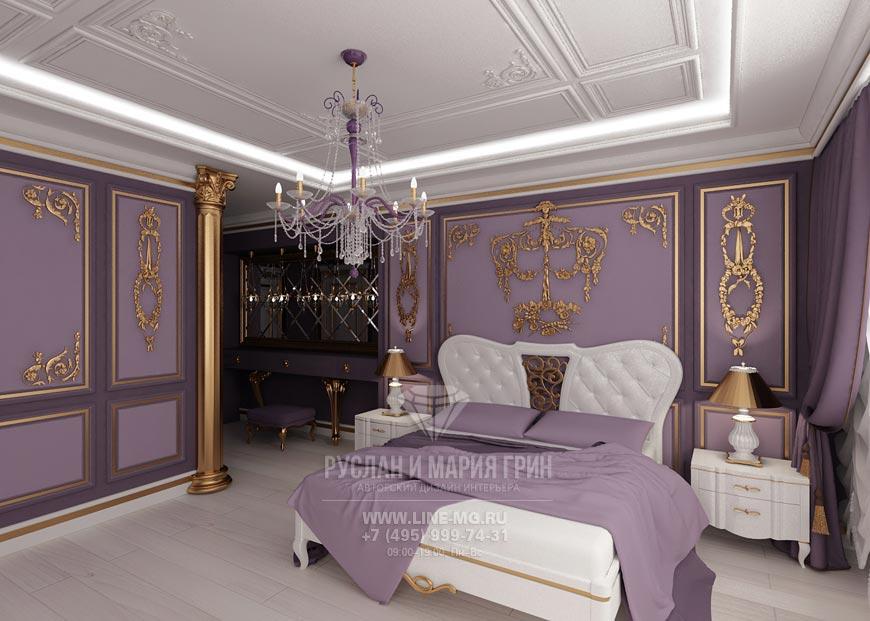 Фото новинка 2015: Интерьер лиловой спальни в классическом стиле