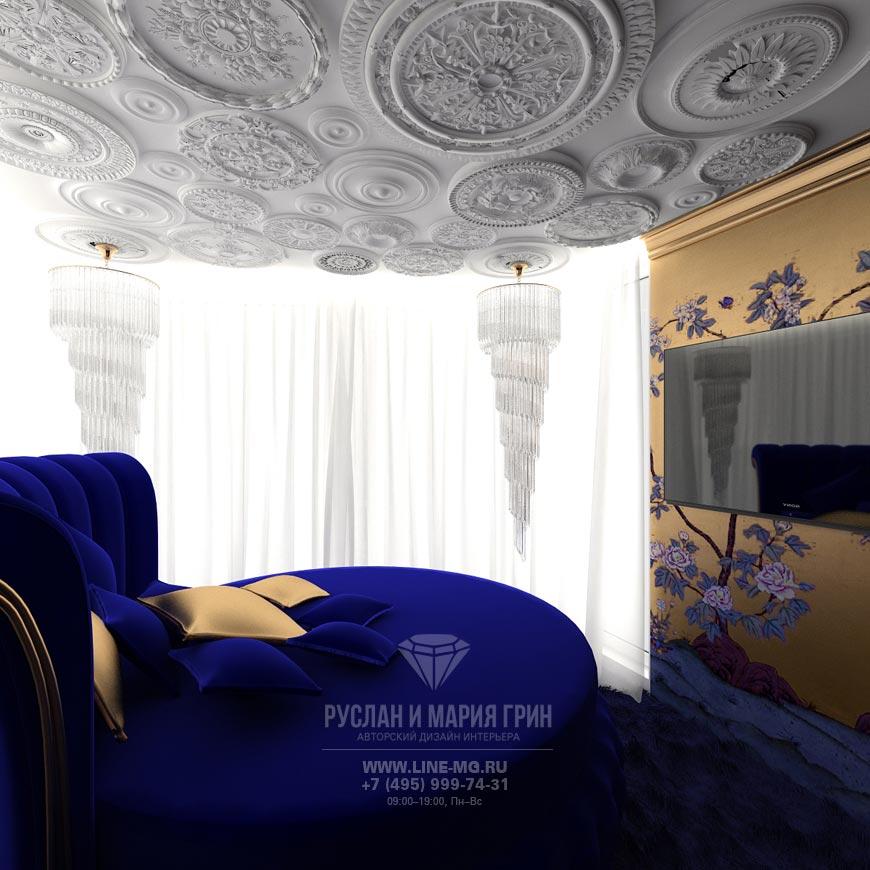 Фото интерьера синей спальни в стиле арт-деко