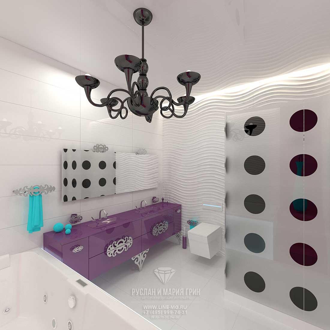 Дизайн детского санузла в доме с мансардой. Фото новинка 2015