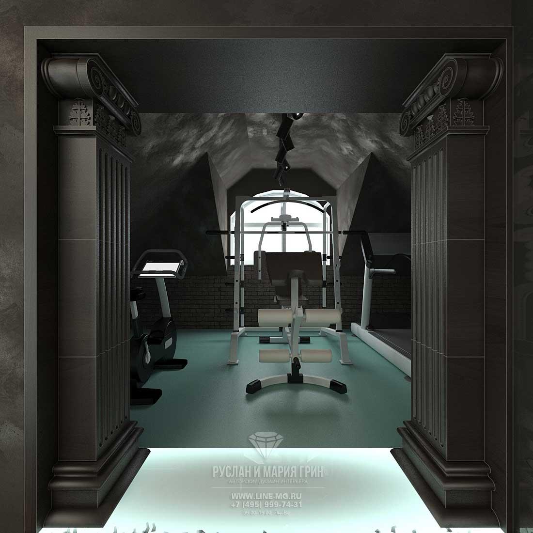 Дизайн тренажерного зала на мансарде в частном доме