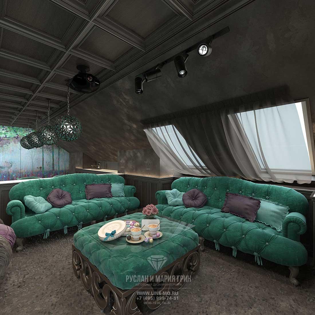 Дизайн диванной зоны на мансарде в частном доме. Фото новинка 2015