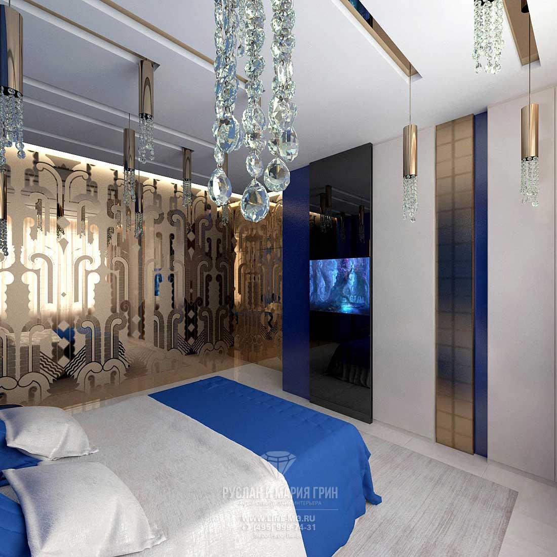 Фото интерьера синей гостевой спальни в частном доме