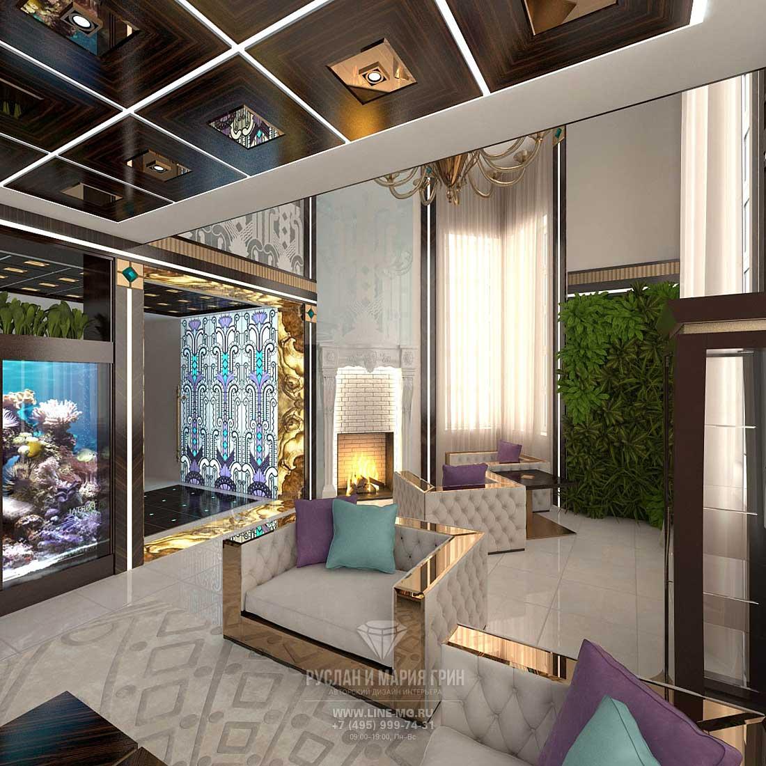 Дизайн интерьера гостиной с камином. Фото новинка 2015.