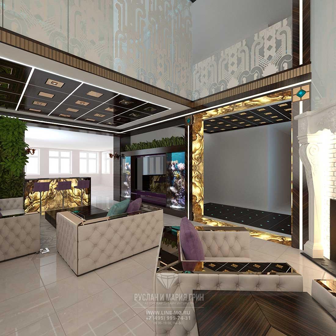 Современная идея дизайна гостиной в доме