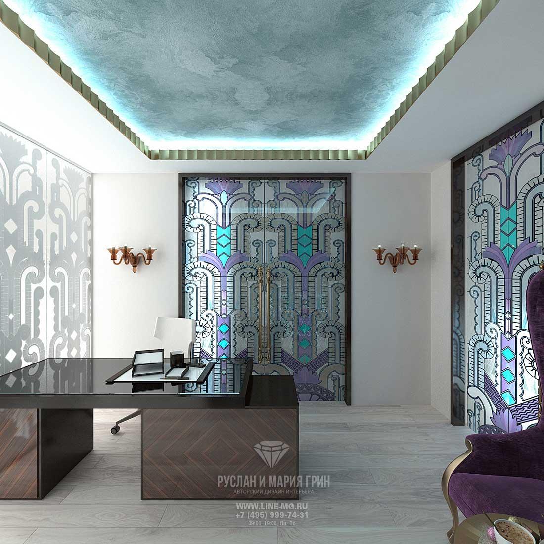 Дизайн кабинета в доме. Фото интерьера
