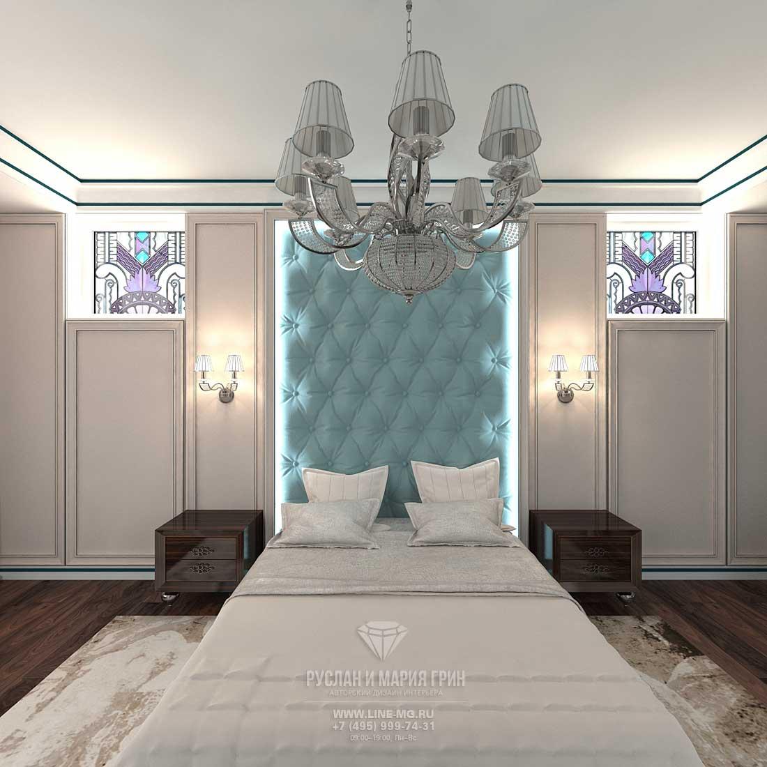 Современная идея дизайн спальни в стиле арт-деко