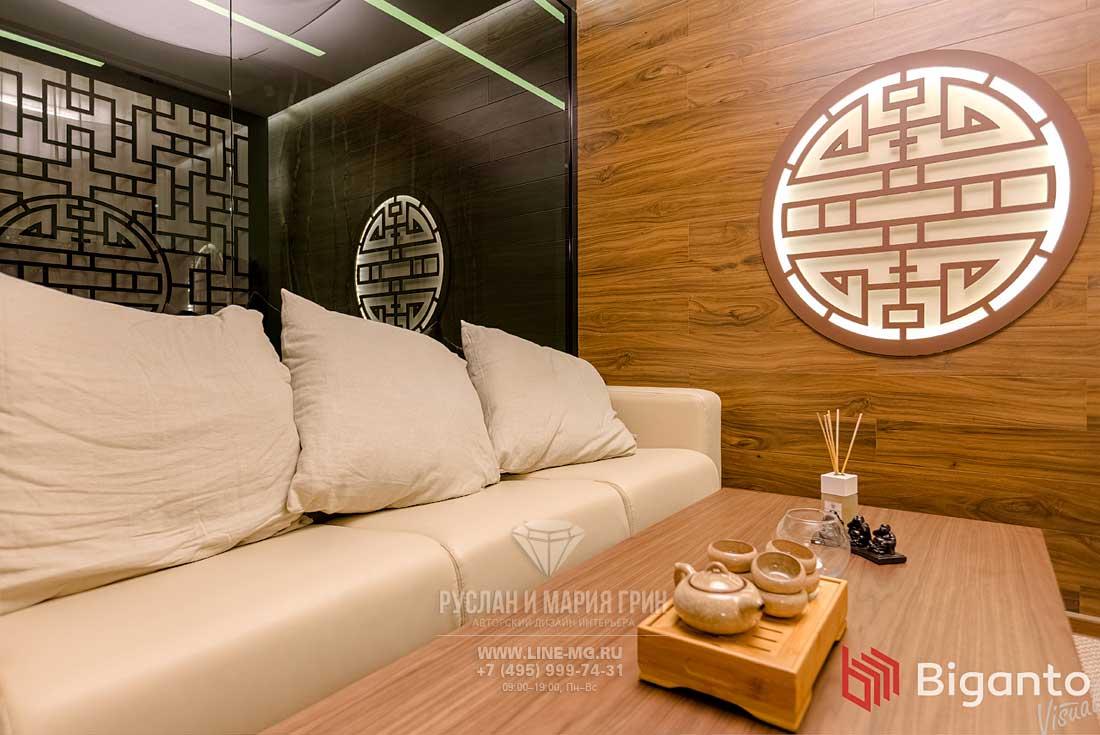 Фото интерьера зоны для чаепитий в клинике китайской медицины