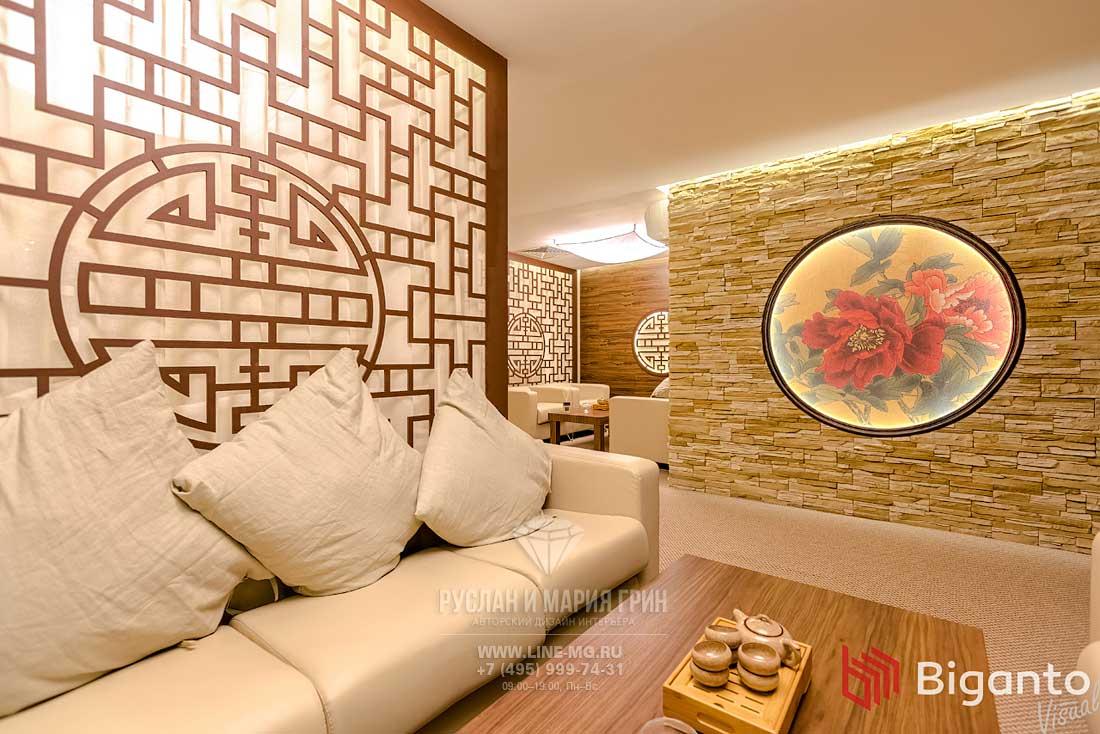 Мебель и декор в зоне для чаепитий клиники китайской медицины