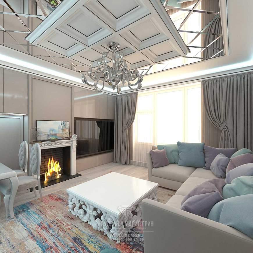 Современная идея дизайна гостиной в таунхаусе