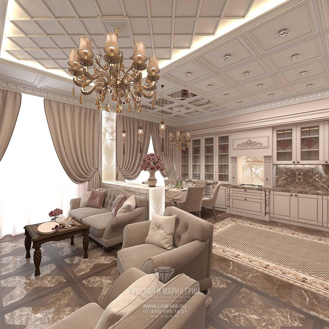 Кухня-гостиная 15 кв м (метров) - дизайн интерьера