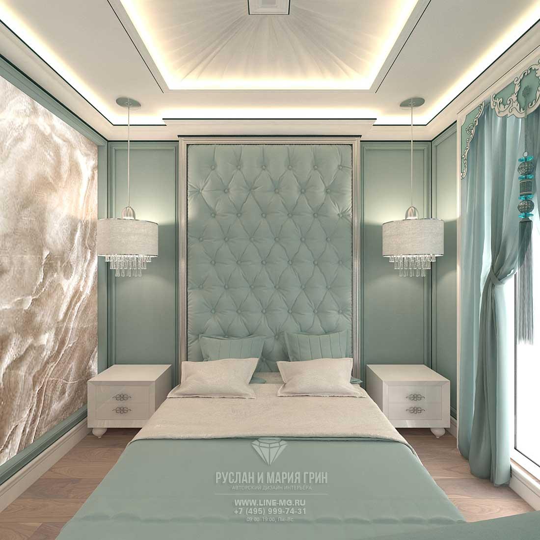 Дизайн бирюзовой спальни в таунхаусе